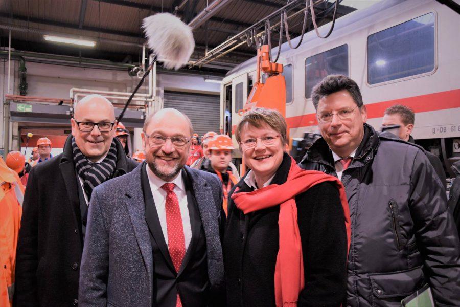 Torsten Albig, Martin Schulz, Kirsten Eickhoff-Weber und Reinhard Meyer_Foto: Mareike Overbeck