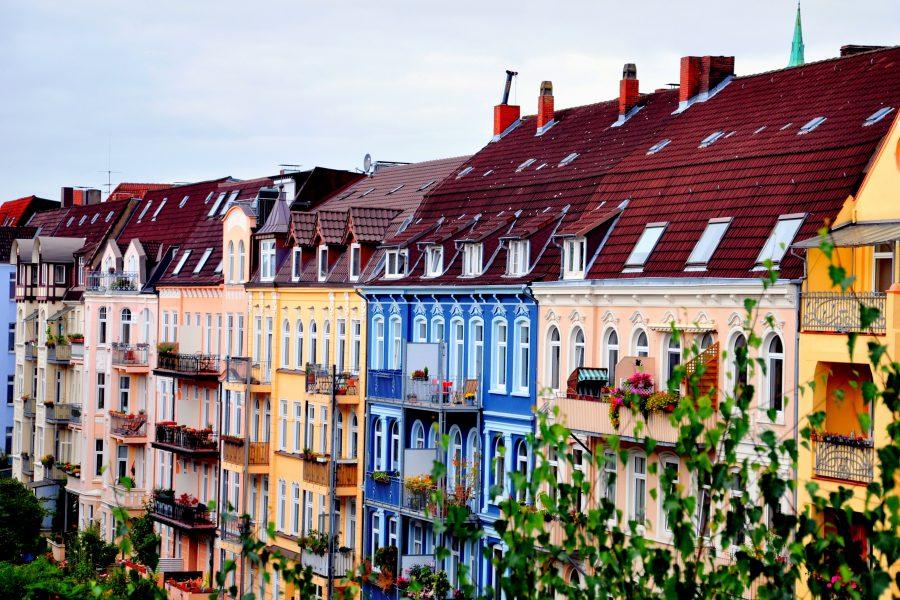 Bunte Häuser im Gründerzeit-Stil