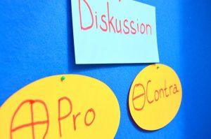 """Metaplankarten. Auf der obersten steht """"Diskussion"""" - Darunter hängen zwei Karten mit """"Pro"""" und """"Kontra"""""""