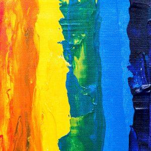 Acrylbild in Regenbogenfarben