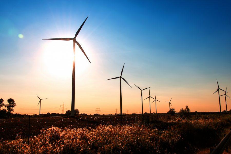 Windkraftanlagen auf einem Feld im Sonnenaufgang
