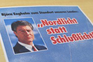 """Plakat mit Björn Engholm: """"Nordlicht statt Schlußlicht"""""""