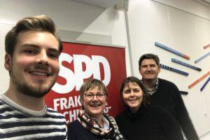 Selfie mit Justus Klebe (Flensburg), Kirsten Eickhoff-Weber (Neumünster), Gesine Stück (Kiel), Thomas Rother (Lübeck) v.l.n.r.
